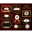 set black gold framed labels vector image vector image