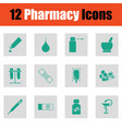 set of twelve pharmacy icons vector image
