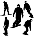 Set snowboarders silhouettes vector image