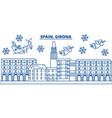 spain girona winter city skyline merry christmas vector image vector image