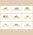 still life compositions for photo with food set vector image vector image