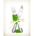 Table knife and fork with parsley icon vector image vector image