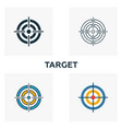 target icon set four elements in diferent styles vector image