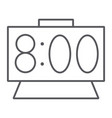 time thin line icon clock and hour digital watch vector image vector image