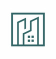 tower residence square outline logo vector image