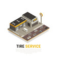 tyre repair centre background vector image vector image