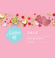 valentines day sale web banner background pink vector image vector image