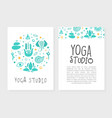 yoga studio business card with front and back side vector image vector image
