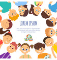 background with smiling faces of different kids vector image