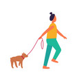 woman walks with dog isolated vector image