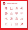 16 caution icons vector image vector image