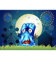 A scared monster at the carnival vector image vector image