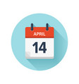 april 14 flat daily calendar icon date vector image