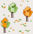 autumn seamless pattern trees and leaves vector image