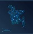bangladesh map with cities luminous dots - neon