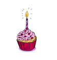 birthday muffin cake with candle drawing vector image vector image