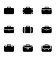 black briefcase icon set vector image vector image
