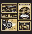 black golden retro car service labels set vector image vector image