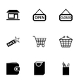 black shop icons set vector image vector image