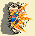 breaks the wall disabled woman runner with leg vector image vector image
