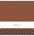 Brown card or invitation with white polka dots vector image vector image