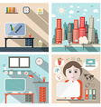 Business and School Exterior and Interior Flat vector image