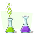 cartoon chemical flask with liquid icon set vector image vector image