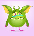 cartoon green monster crying vector image vector image
