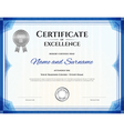 Certificate of excellence template in blue theme vector image vector image