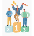 character men winners who hold trophies vector image vector image