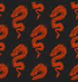 chinese dragon silhouettes tattoo mythology vector image