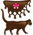 Chocolate marmalade flower decor and cat vector image vector image