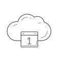 cloud calendar line icon vector image vector image
