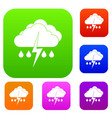 cloud with lightning and rain set collection vector image