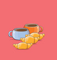 coffee and croissant isolated on pink background vector image