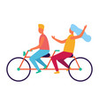 couple riding on tandem or twin bicycle isolated vector image vector image