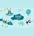 cute baby pandas with rainbow clouds air balloons vector image