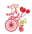 cute dog drive vintage bicycle color cartoons vector image