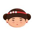 cute japanese girl face cartoon vector image