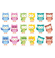 cute little owl cartoon isolated set vector image vector image