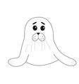 Cute seal pup baby harp Cartoon contour character vector image
