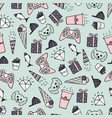 cute seamless pattern with hand-drawn doodles vector image