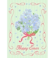 Easter vintage card with a bouquet forget-me-not vector image