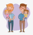 fathers and daughters characters card vector image vector image