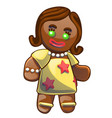 gingerbread man decorated colored icing isolated vector image