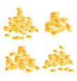 golden coins set isolated on white background vector image vector image