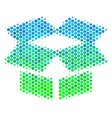 halftone blue-green open box icon vector image