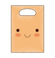 kawaii paper bag with handle in colored crayon vector image vector image