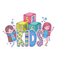 little girls with blocks of numbers toy vector image