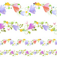 Lovely collection of seamless borders with spring vector image vector image
